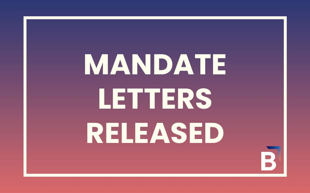 Minister Mandate Letters announced